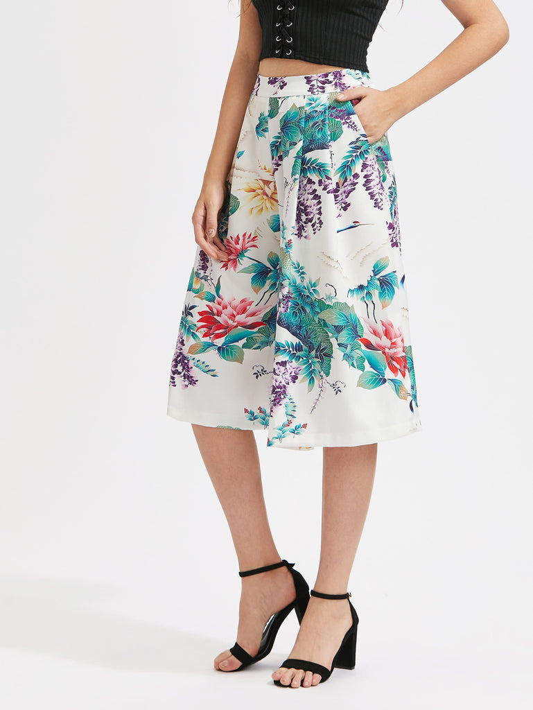 Flower Print Culotte Pants