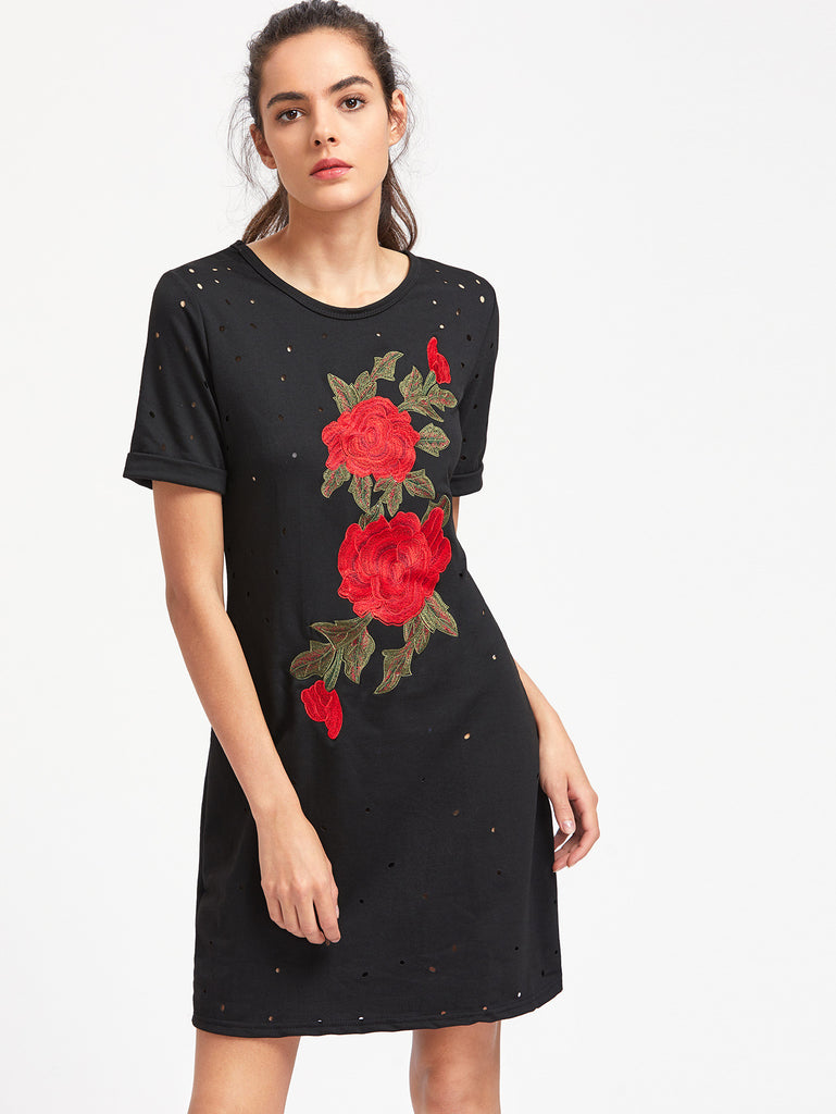 Embroidered Distressed Cuffed Tee Dress