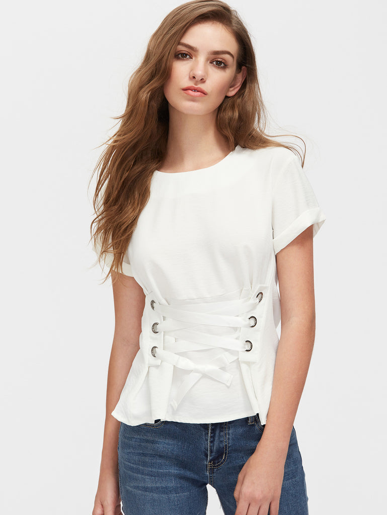 Rolled Sleeve Eyelet Lace Up Corset Top