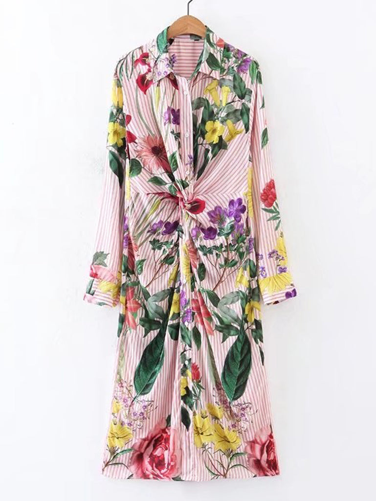 RZX Knot Detail Flower Print Shirt Dress