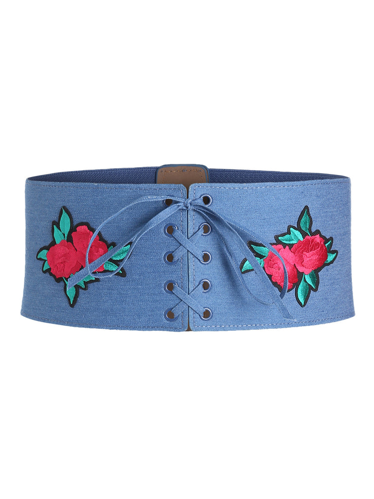 Rose Applique Lace Up Denim Corset Belt
