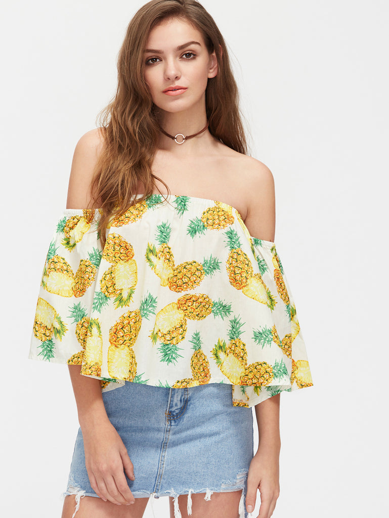 RZX Pineapple Print Off Shoulder Top