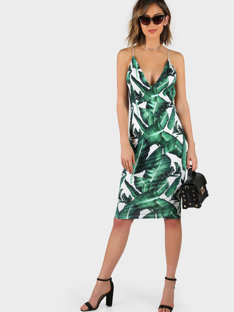 Plunge Neckline Tropical Print Backless Fitted Dress