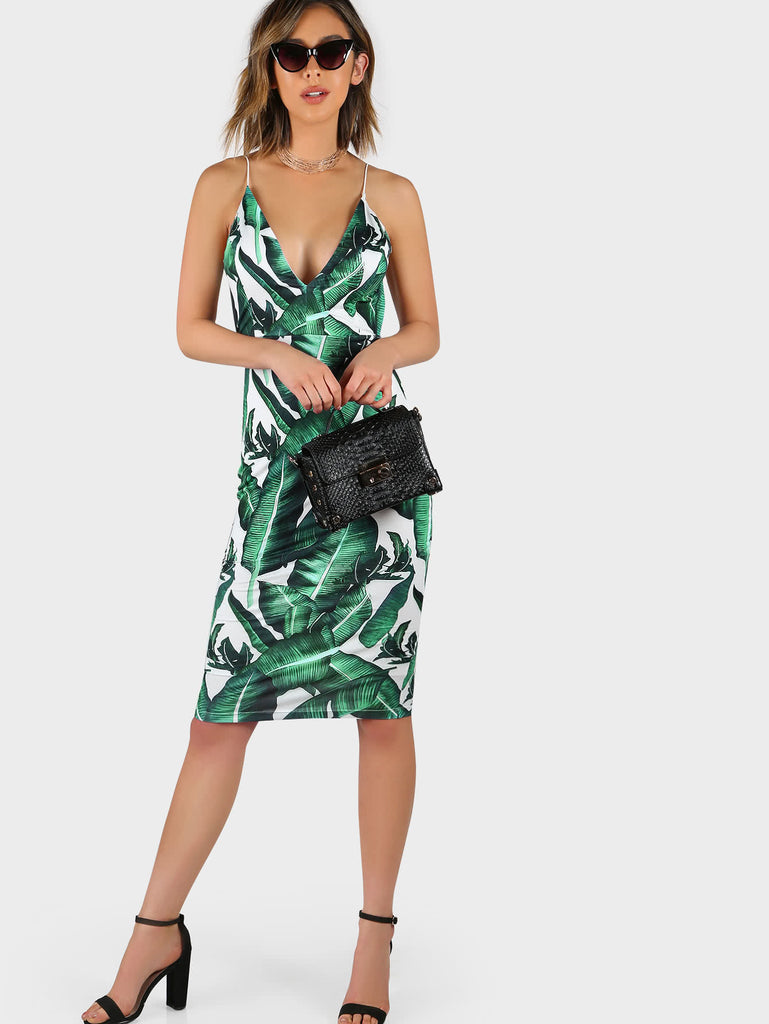 RZX Plunge Neckline Tropical Print Backless Fitted Dress