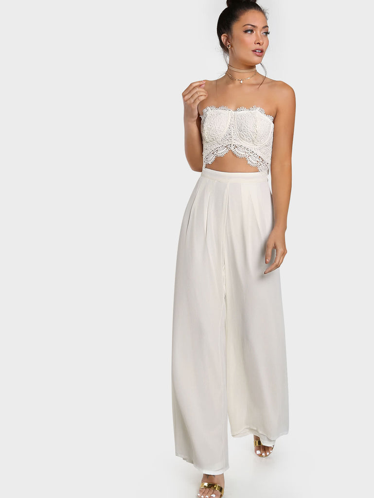 RZX Crochet Cut Out Strapless Jumpsuit IVORY