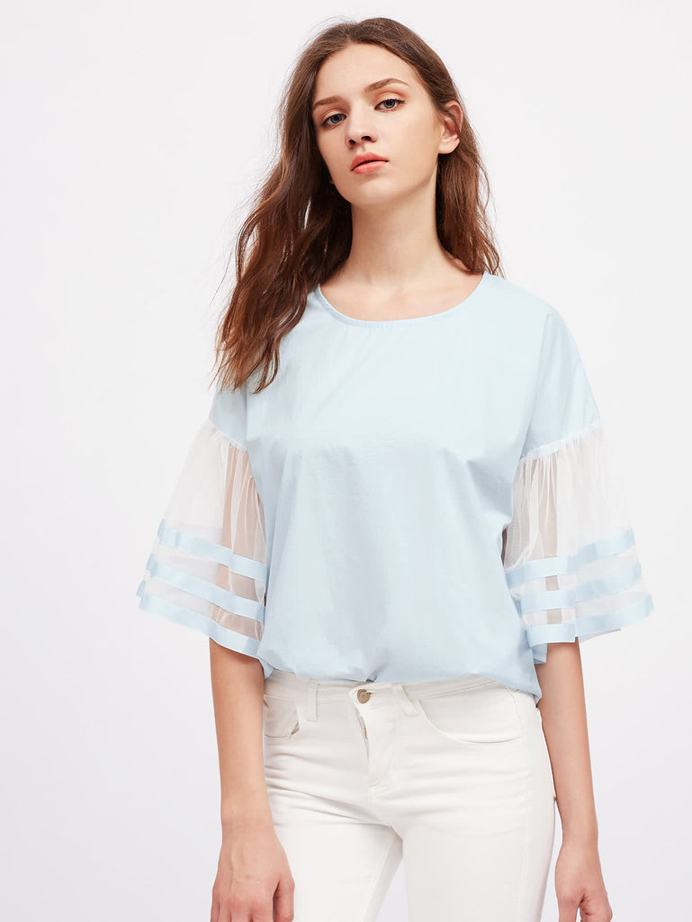 RZX Contrast Mesh Striped Sleeve Drop Shoulder Blouse