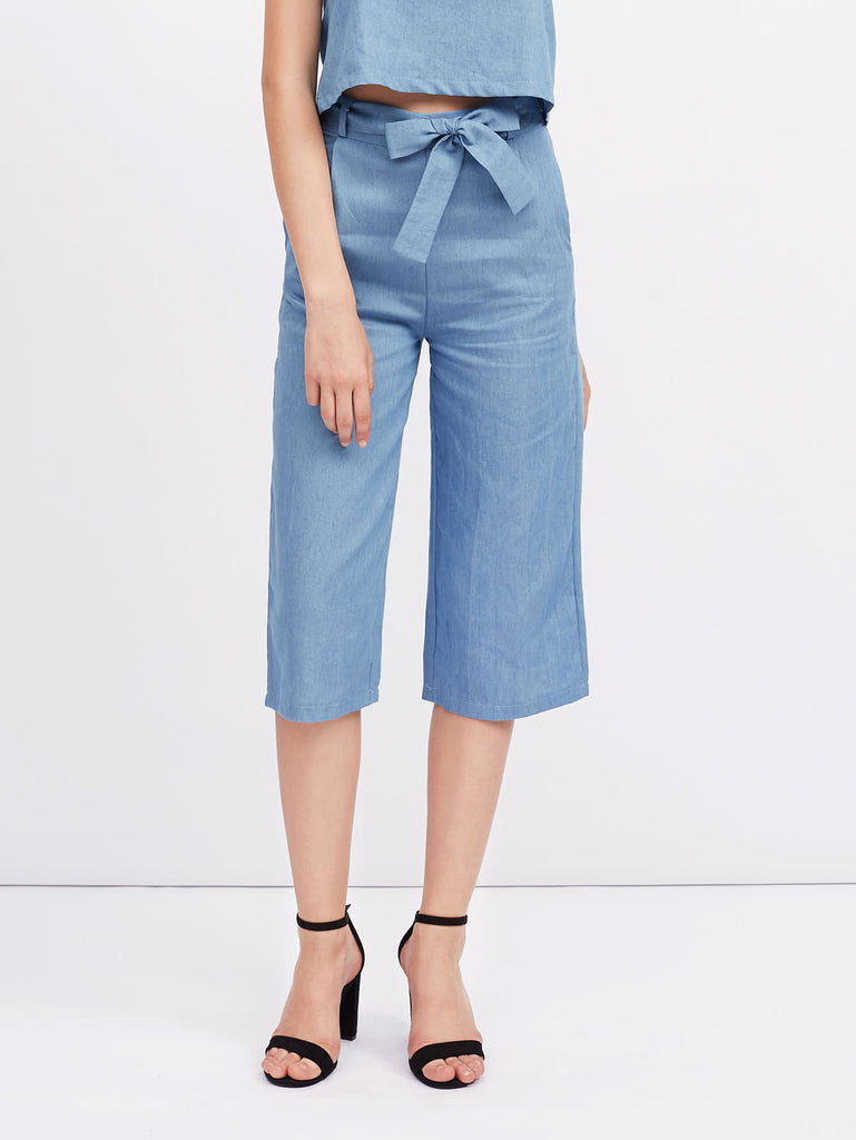 RZX Self Tie Cropped Wide Leg Pants