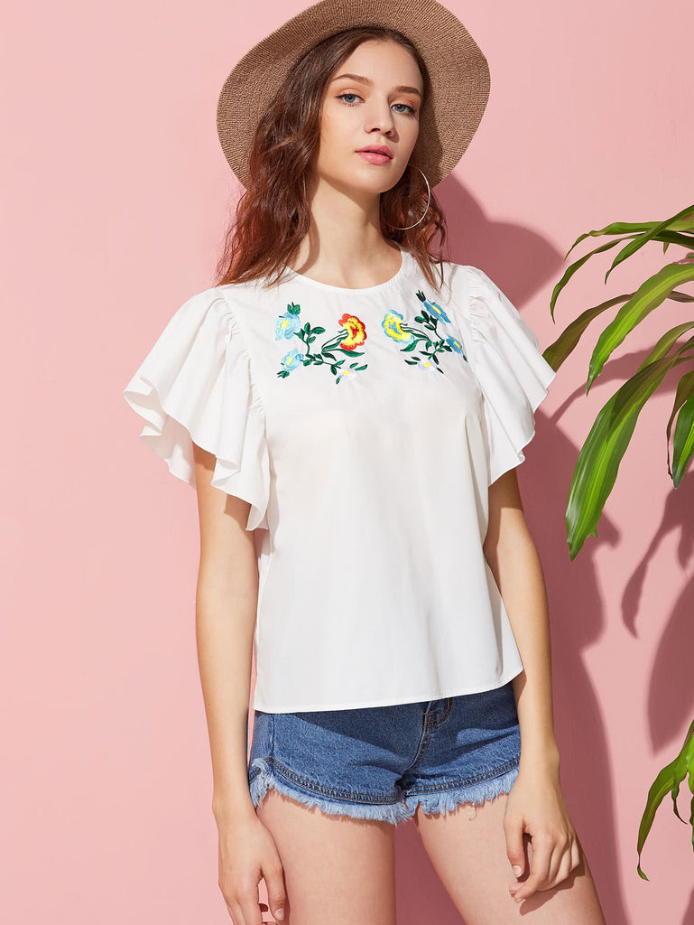 Embroidered Yoke Flutter Sleeve Top