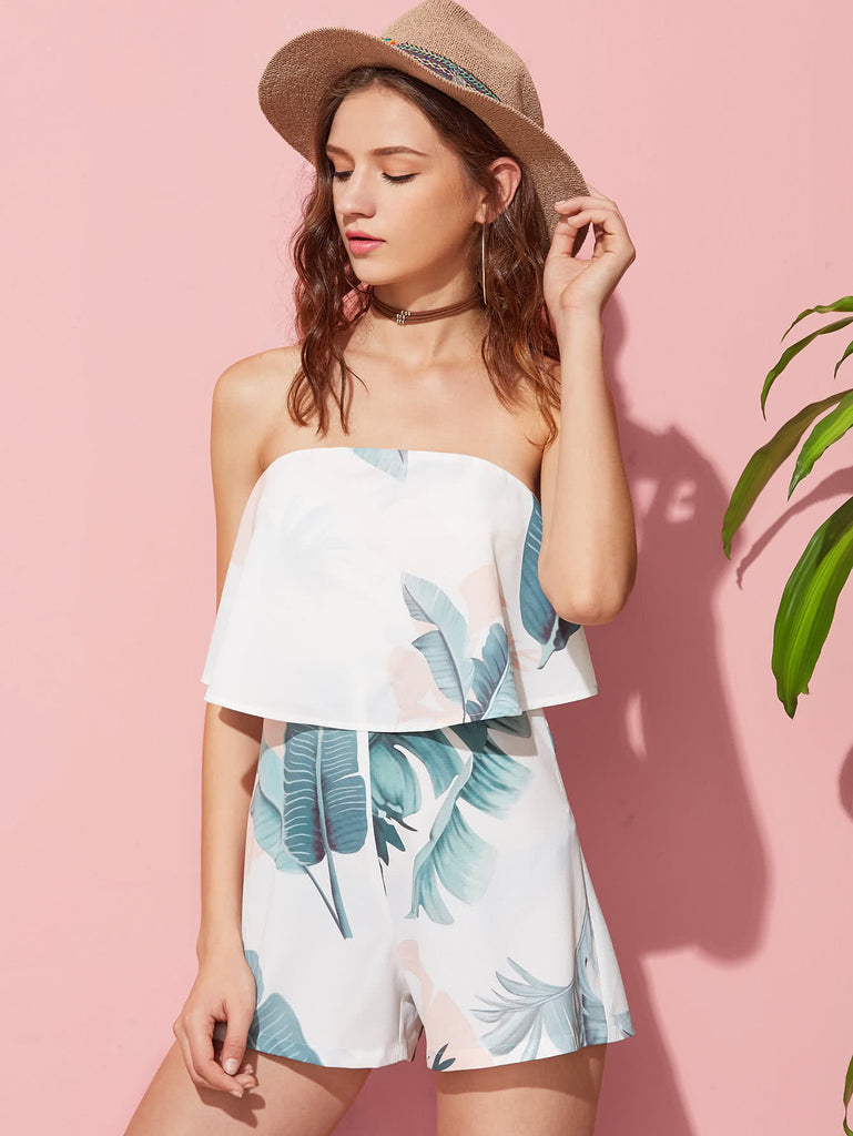 RZX Tropical Print Two Layer Bandeau Playsuit