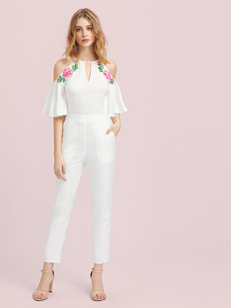 RZX Keyhole Front Flower Patched Trumpet Sleeve Tailored Jumpsuit