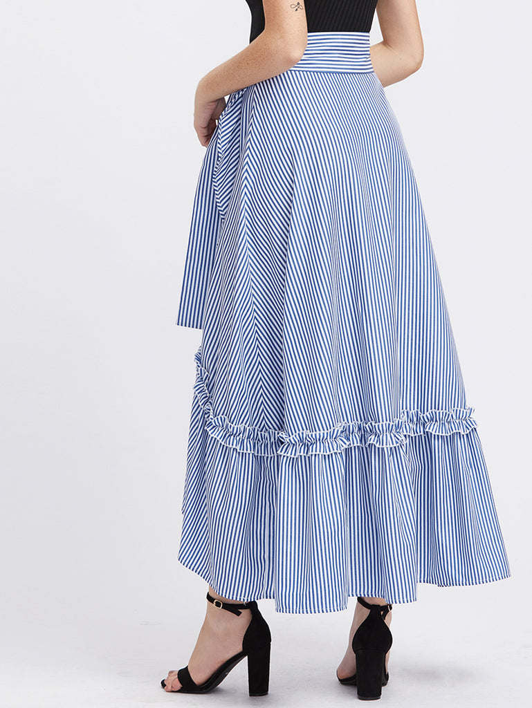 RZX Self Belt Ruffle Trim Striped Overlap Skirt