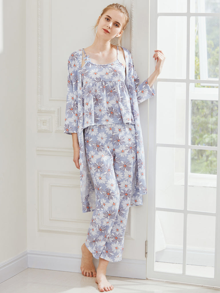 RZX Daisy Print Cami Pajama Set With Robe