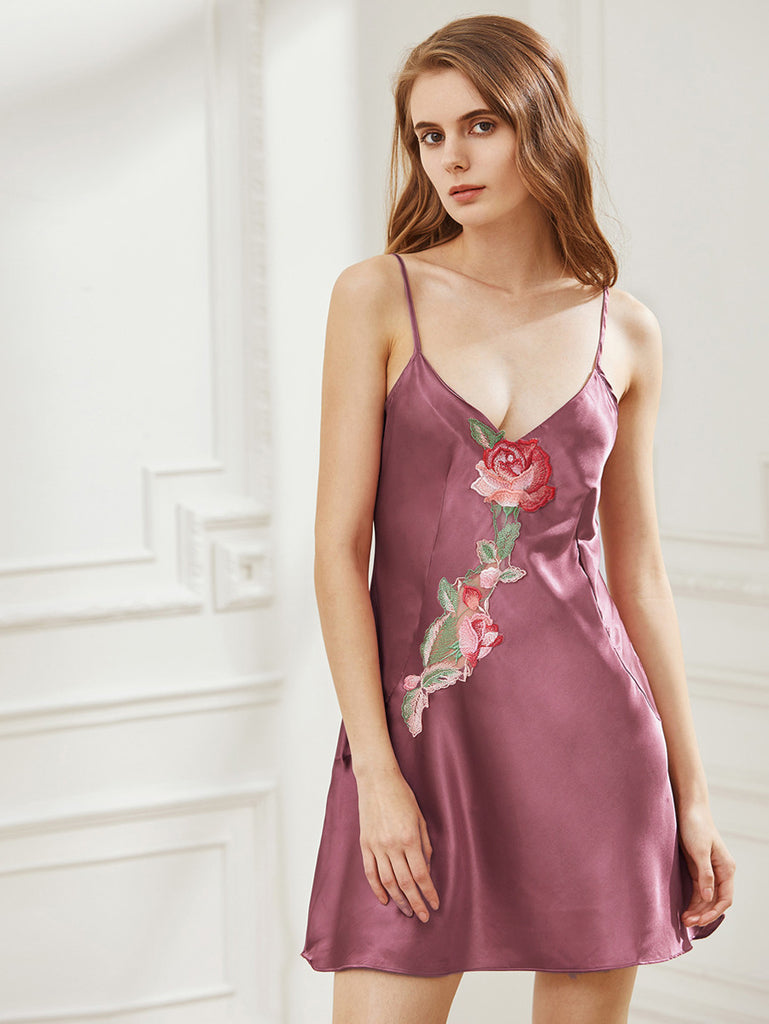 Satin Embroidered Applique Insert Cami Nightdress