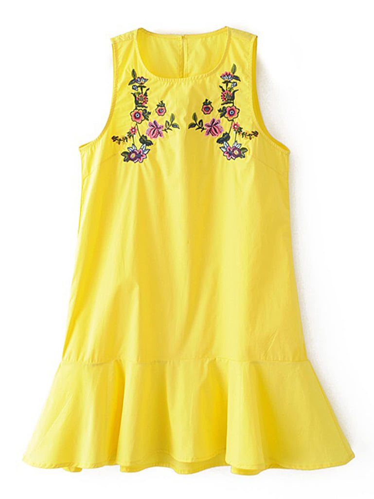 RZX Flower Embroidery Ruffle Hem Tank Dress