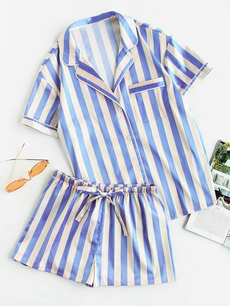 Piping Detail Pocket Front Shirt And Shorts Pajama Set