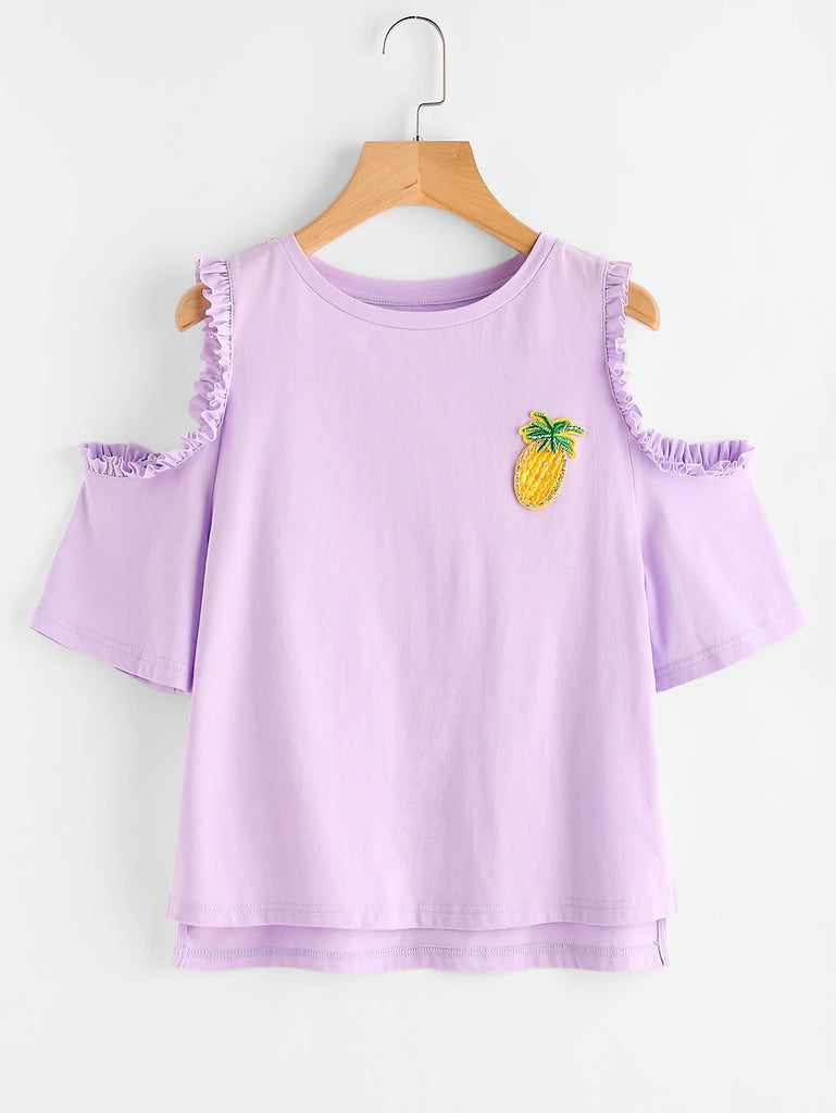Embroidered Pineapple Patch Frilled Open Shoulder Tee