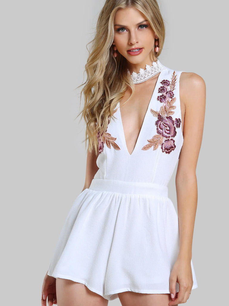 Lace Choker Neck Embroidered Plunge Romper