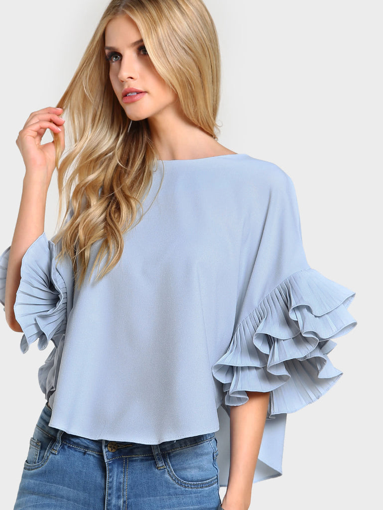 RZX Pleated Ruffle Sleeve Dolphin Hem Top