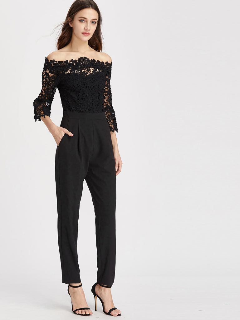 RZX Off Shoulder Lace Overlay Top Tapered Jumpsuit