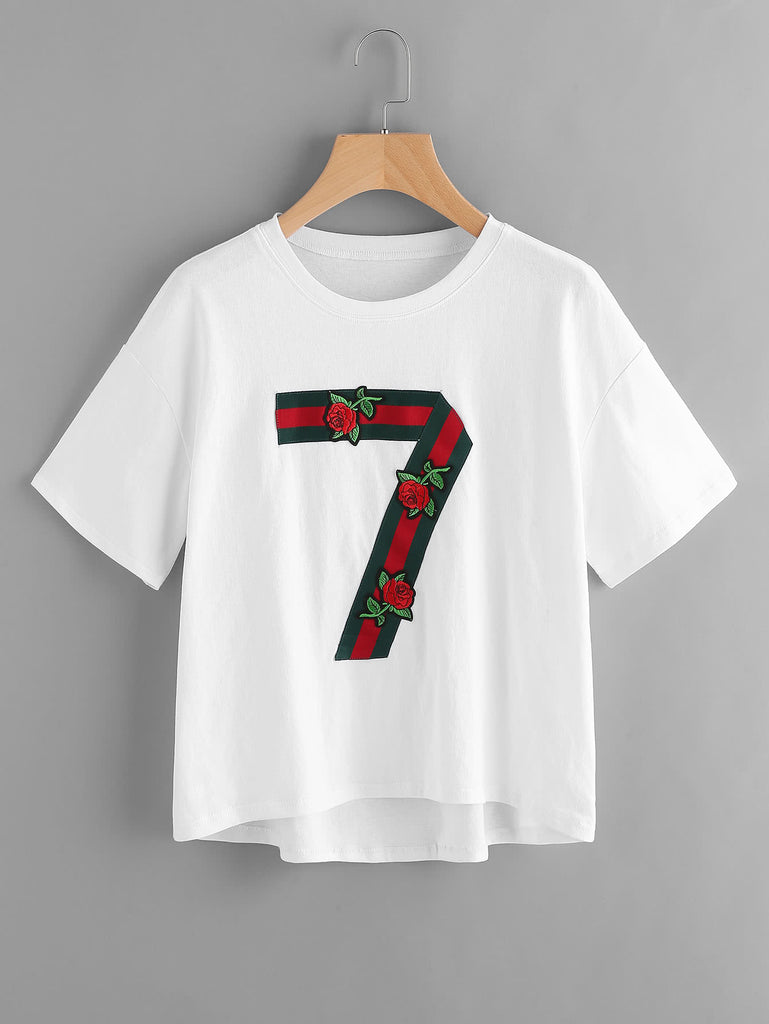 Ribbon 7 And Embroidery Rose Applique Tee