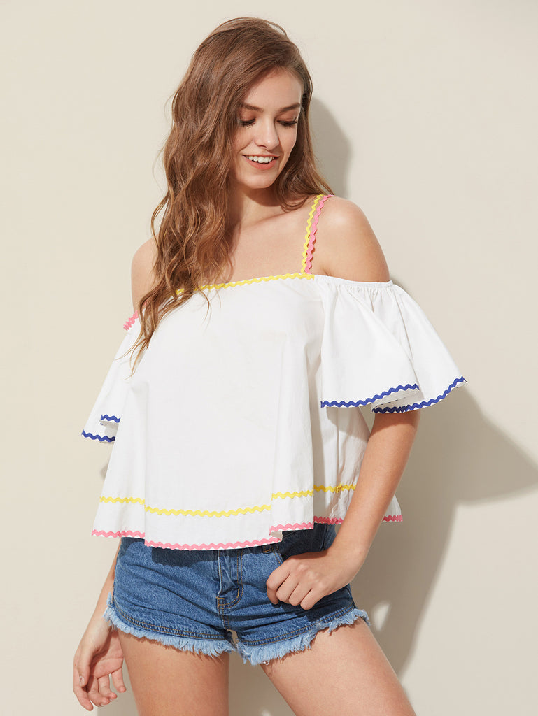 RZX Wave Tape Detail Bell Sleeve Trapeze Top