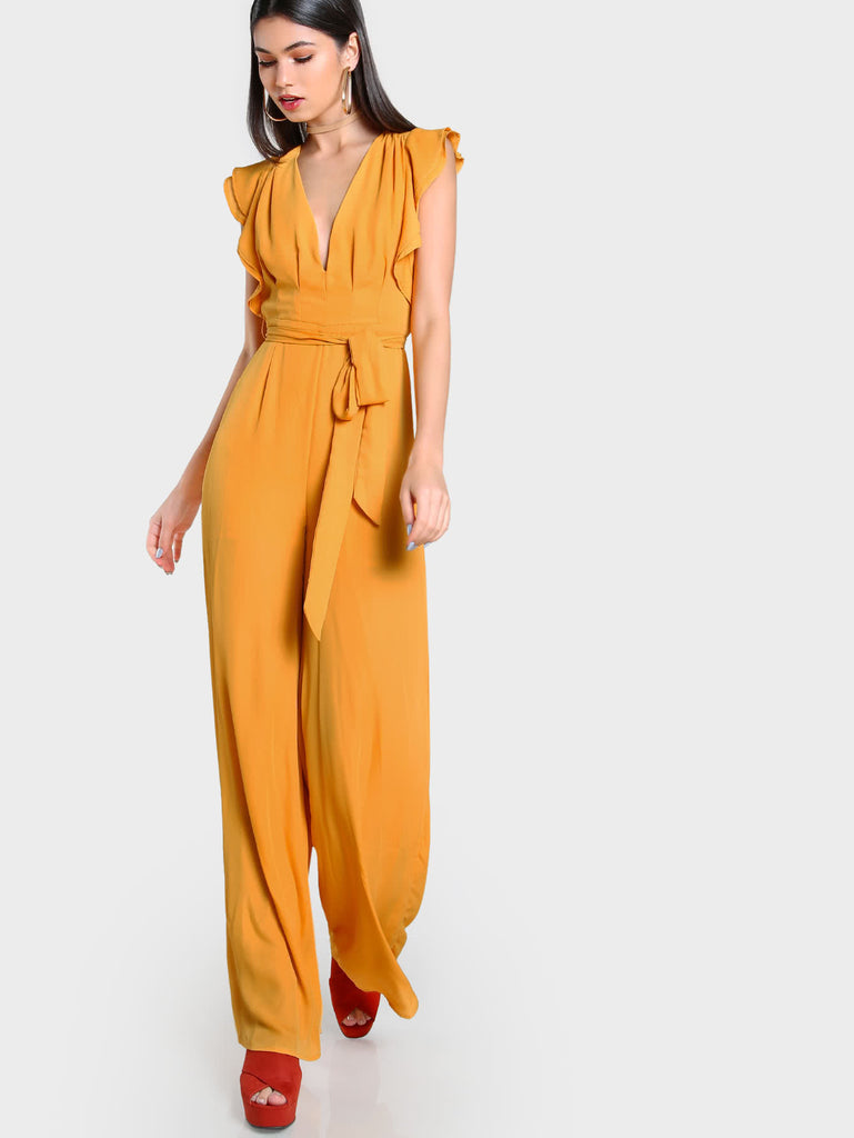 RZX Flutter Sleeve Split Back Plunging Palazzo Jumpsuit