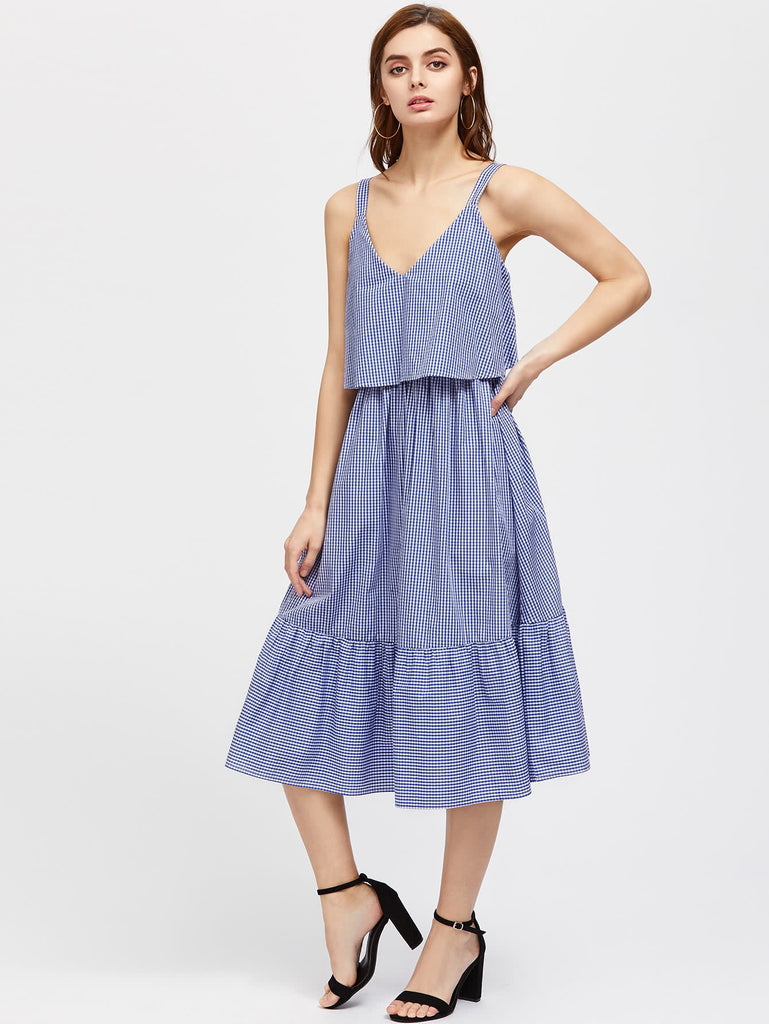 RZX Thick Strap Two Layer Ruffle Hem Gingham Dress