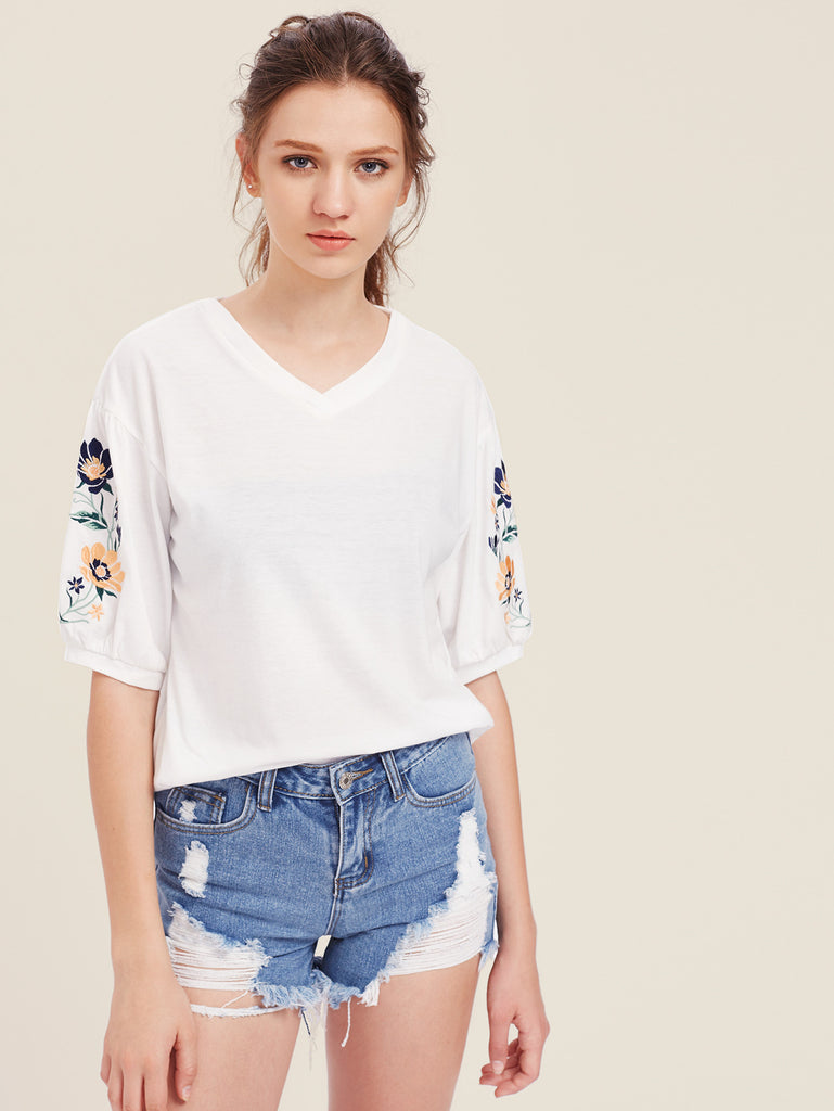 RZX Embroidered Lantern Sleeve Top