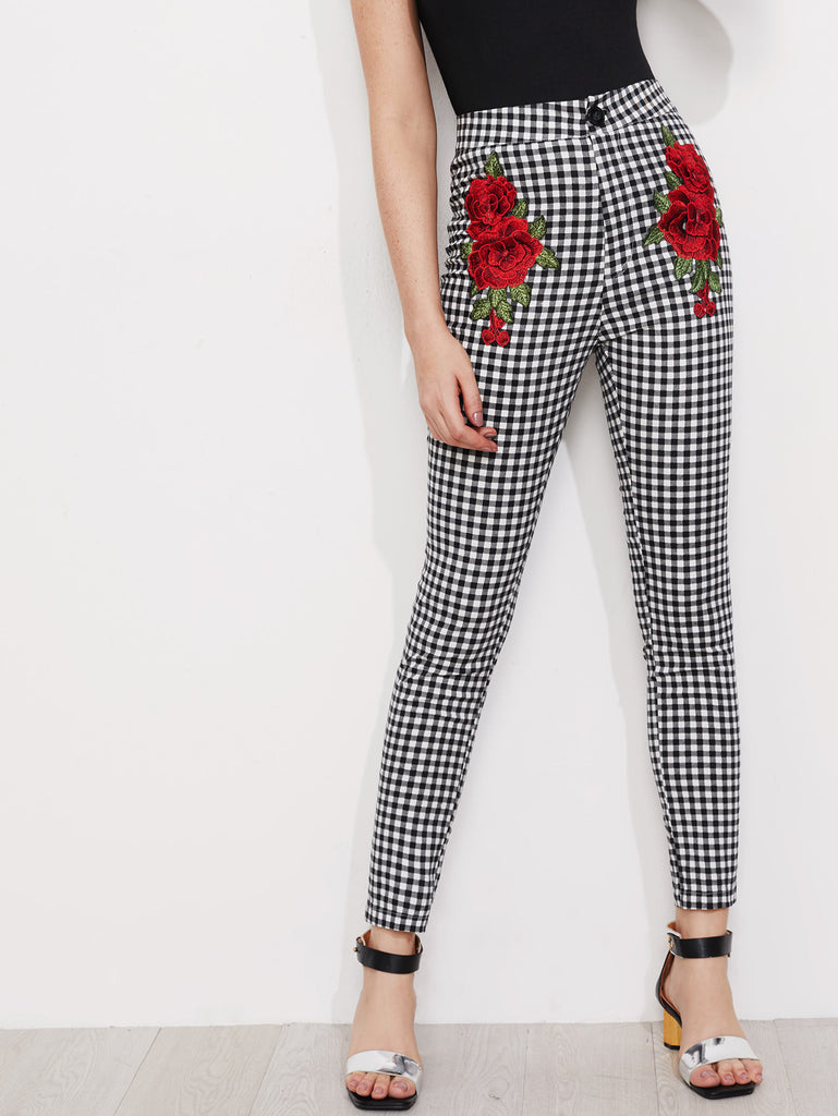 RZX  3D Rose Applique Skinny Gingham Pants