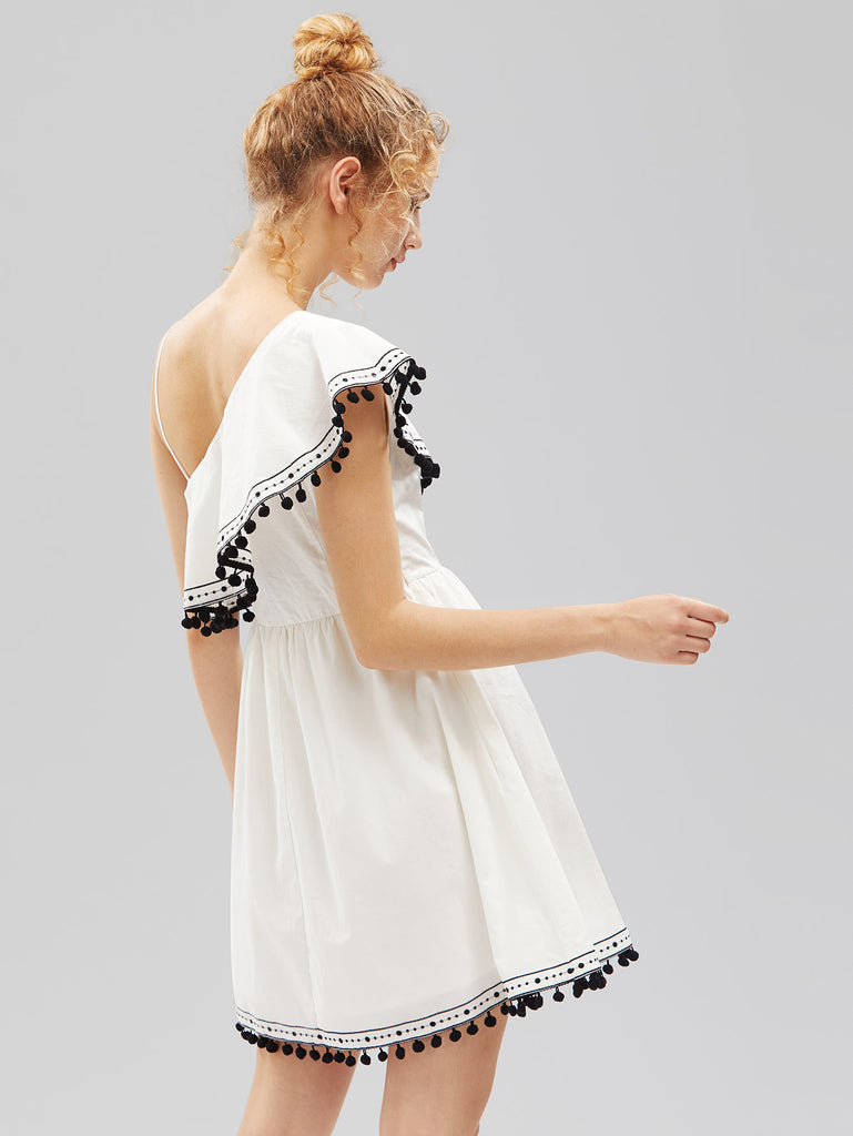 RZX Asymmetric Frill Shoulder Pom Pom Trim Dress