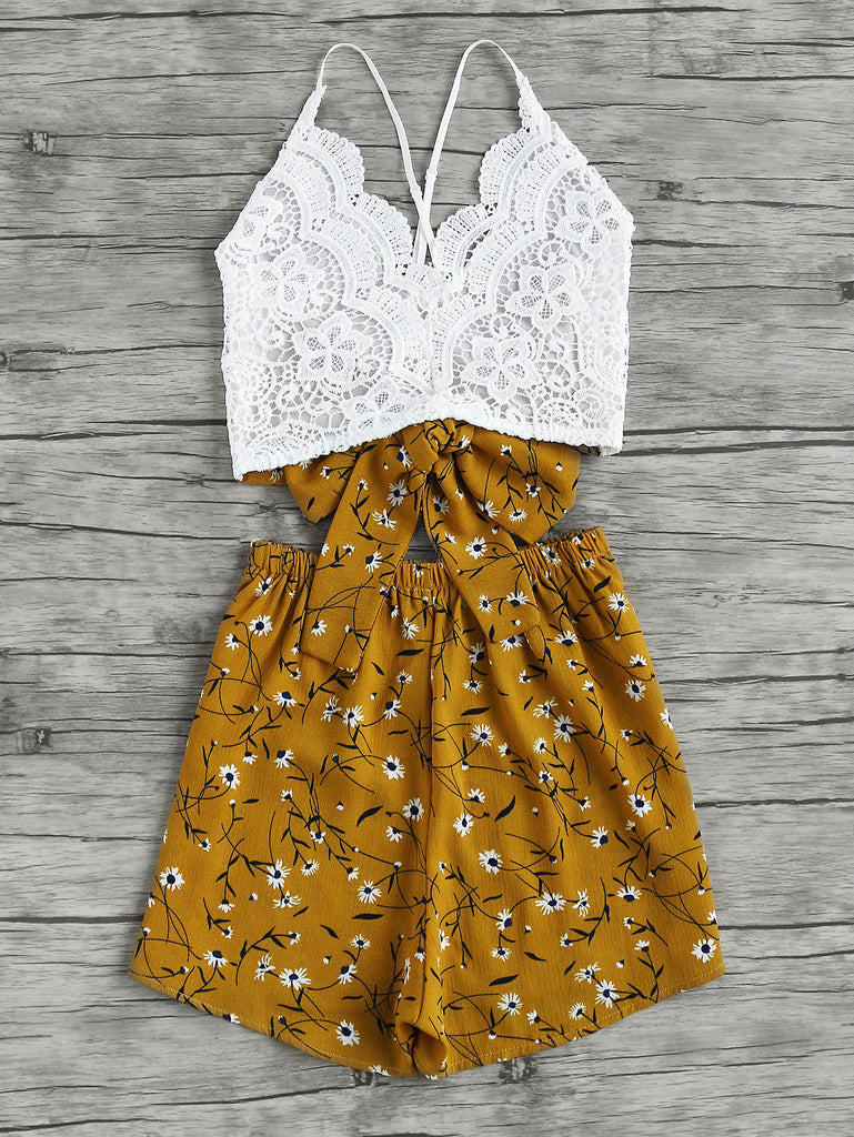 RZX Lace Panel Criss Cross Bow Tie Back Cami Top With Florals Shorts