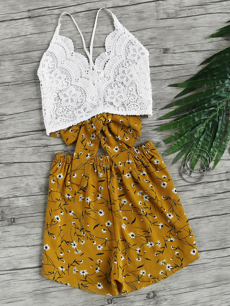 Lace Panel Criss Cross Bow Tie Back Cami Top With Florals Shorts