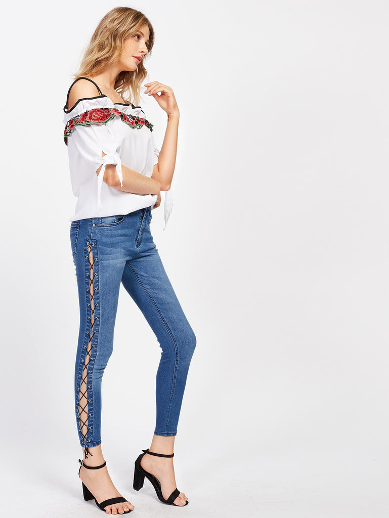Grommet Lace Up Side Jeans