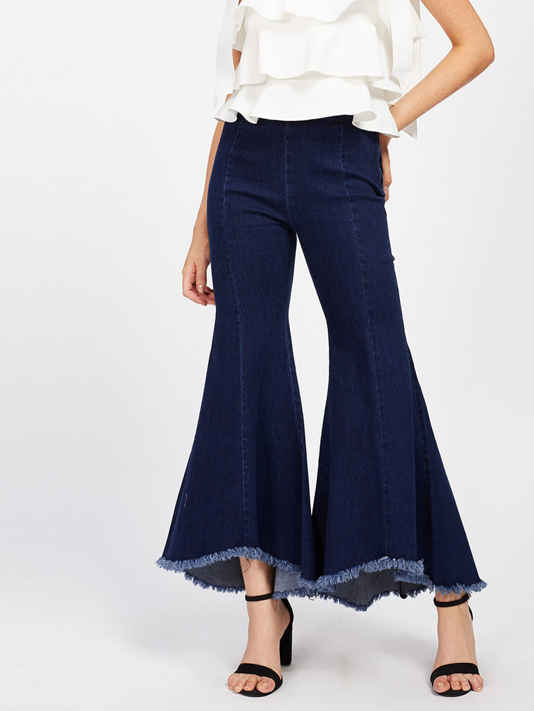 Raw Hem Bell-Bottoms Jeans