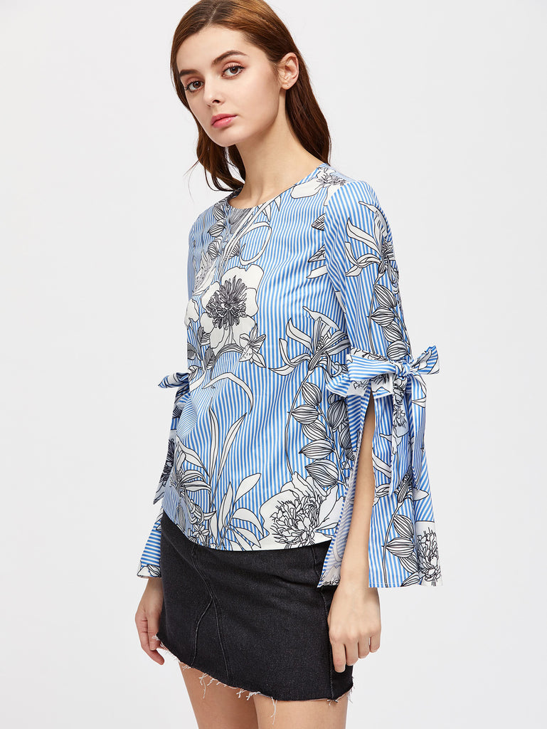RZX Flower And Stripe Print Belted Split Bell Sleeve Top