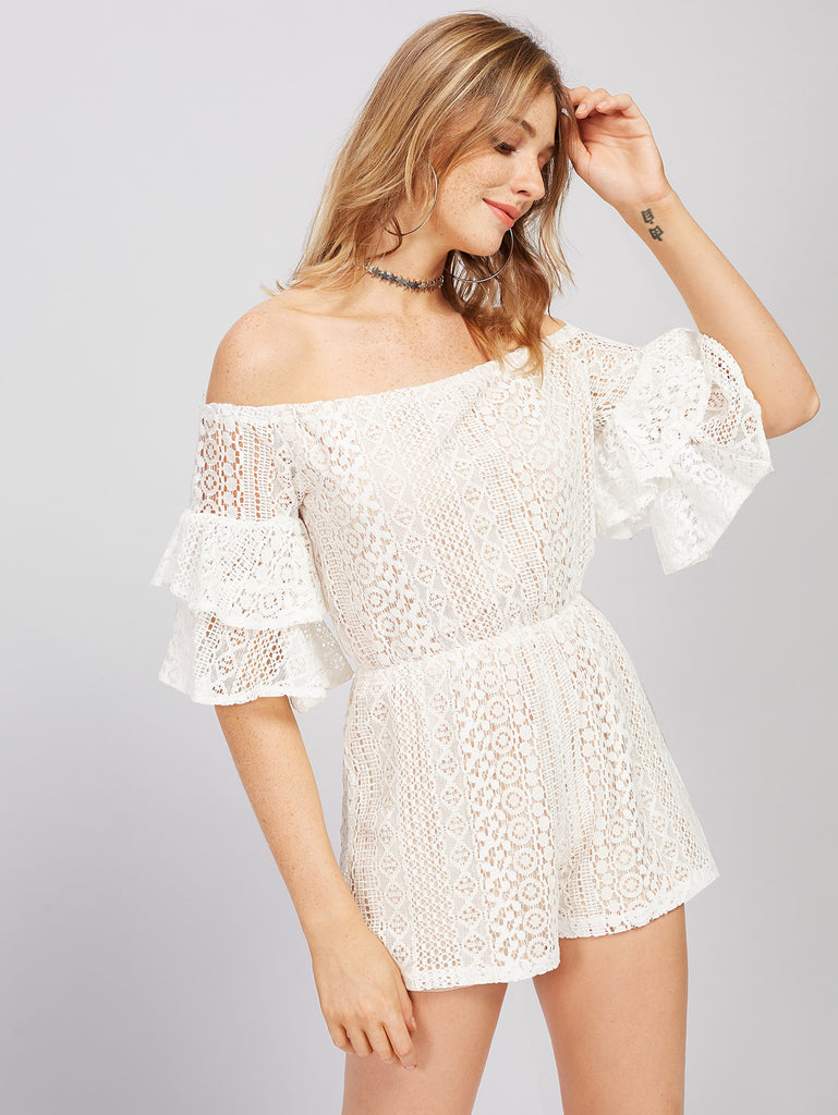 RZX Bardot Layered Bell Sleeve Lace Playsuit