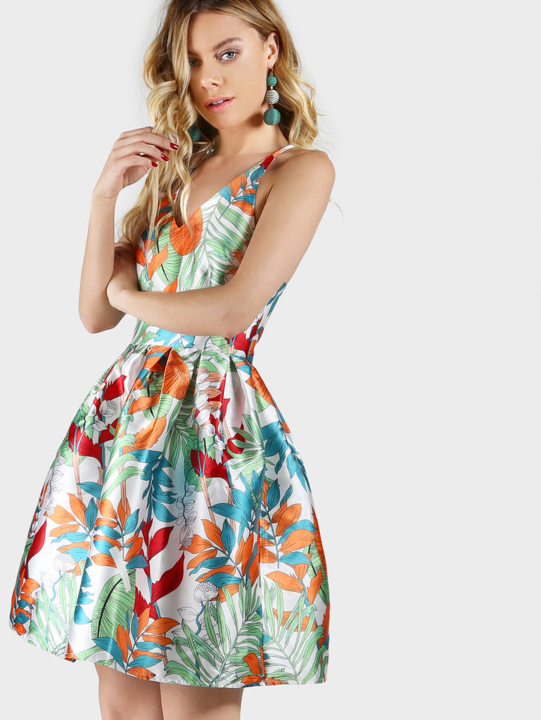 RZX Flower Print Box Pleated Fit And Flare Dress