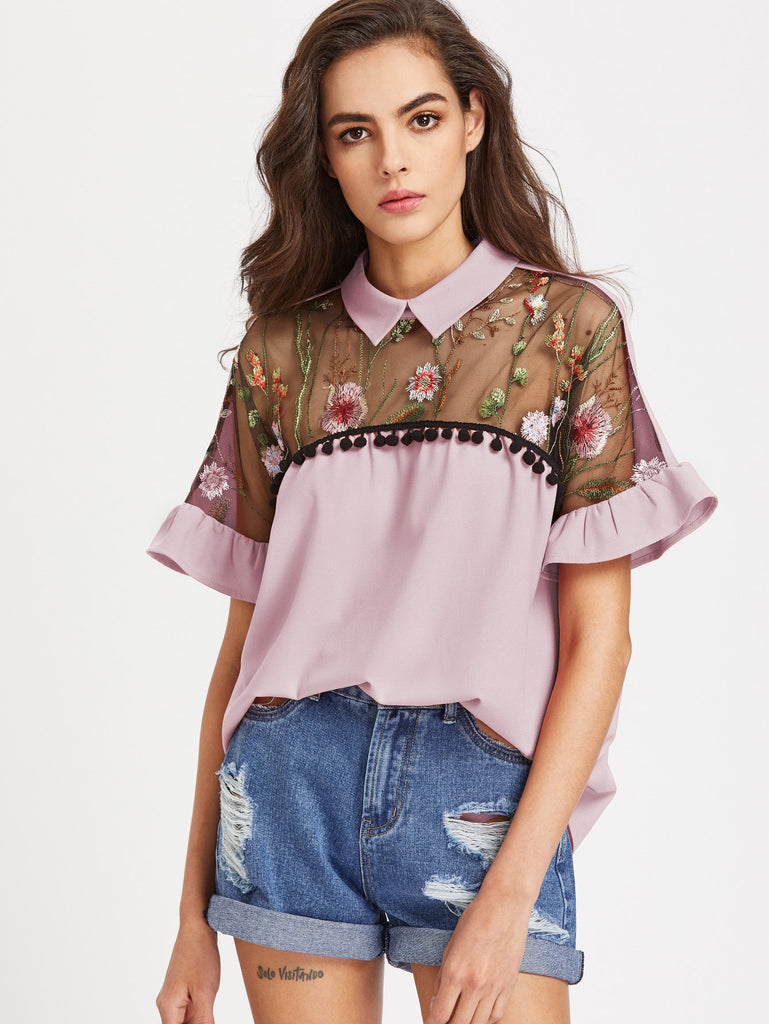RZX Contrast Embroidered Mesh Yoke Ruffle Sleeve Top
