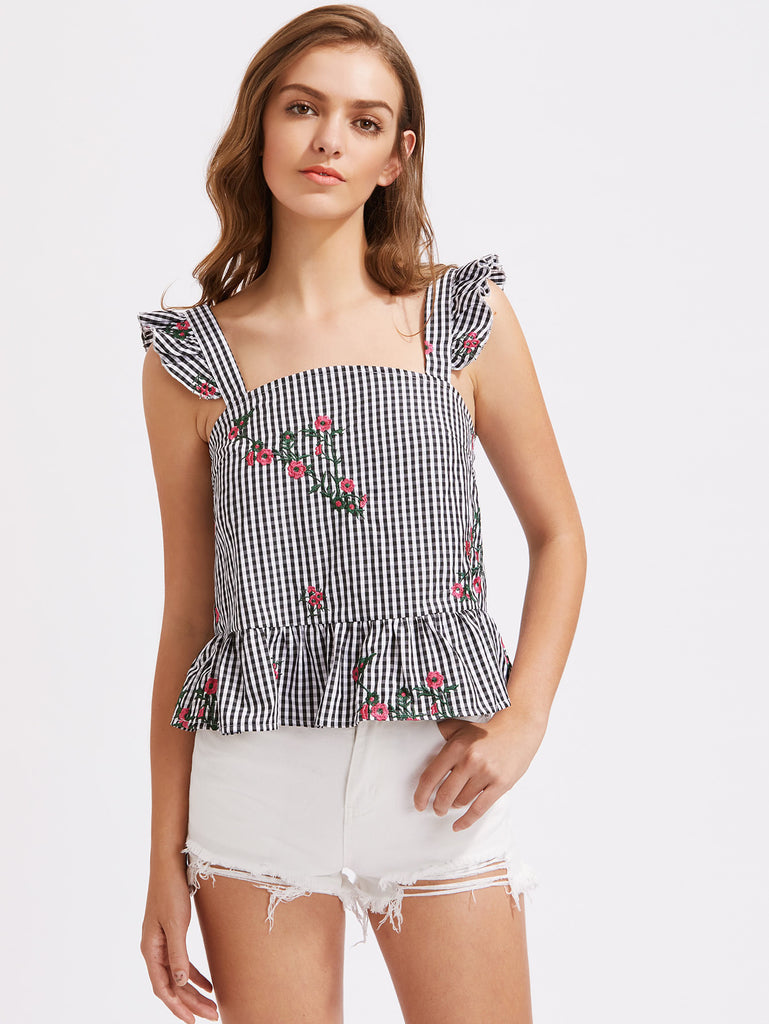 RZX Ruffle Strap Blossom Embroidered Checkered Pinafore Top