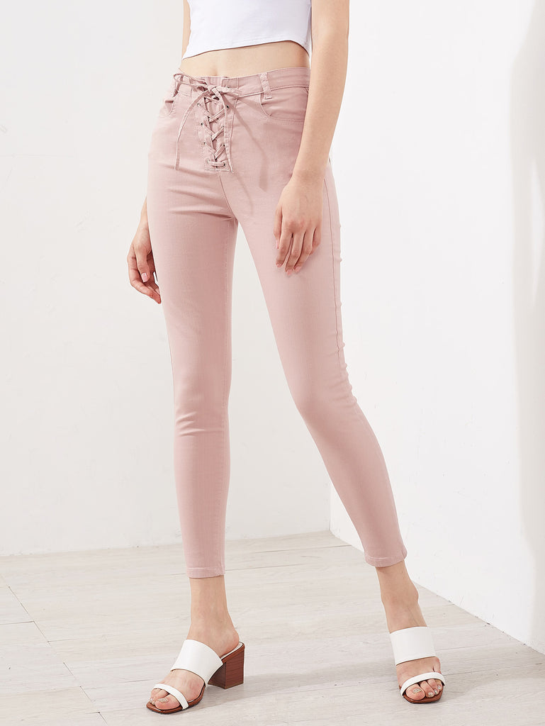 Grommet Lace Up Fry Jeans