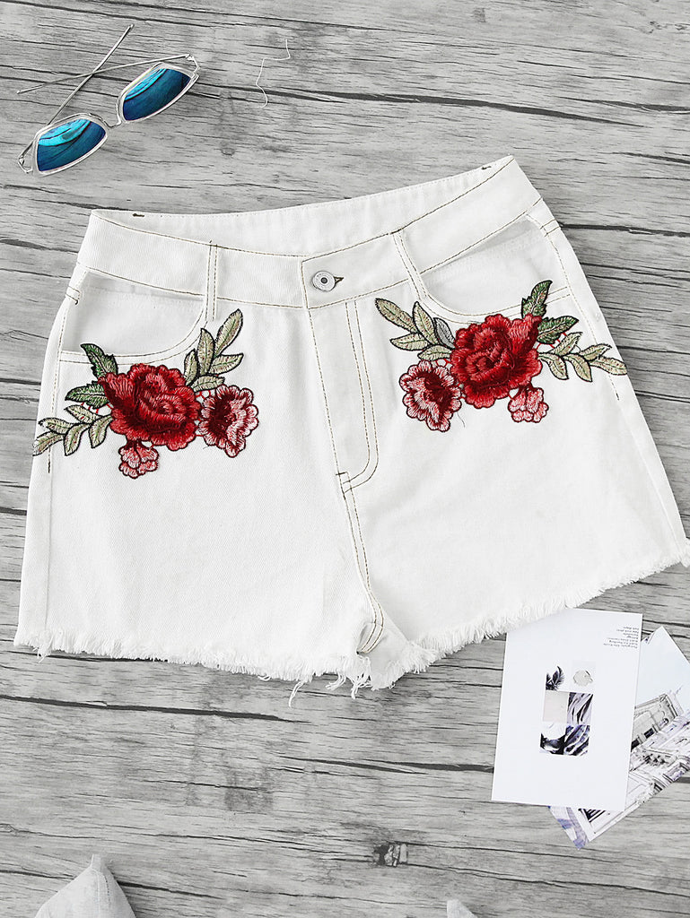 Embroidered Rose Applique Cutout Frayed Topstitch Shorts