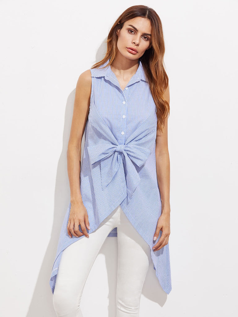 RZX Bow Front Button Up Hanky Hem Striped Shirt