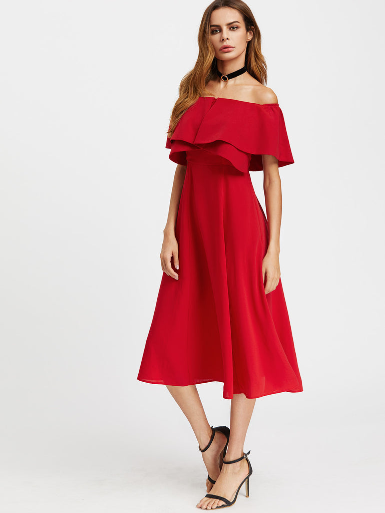 RZX Layered Flounce Bardot Dress