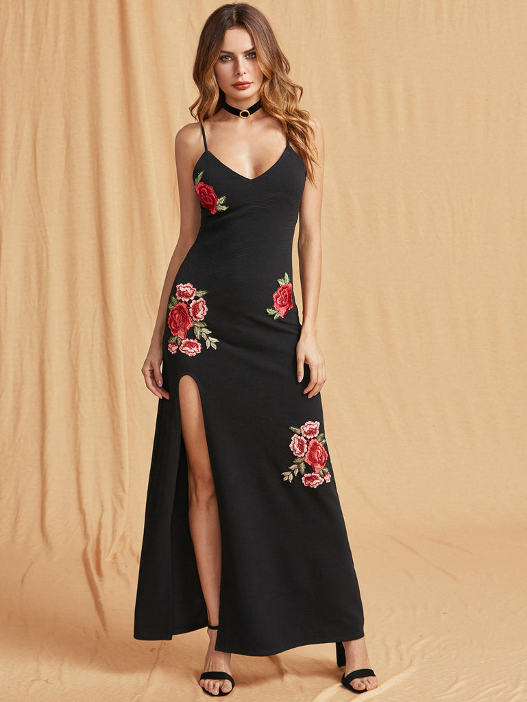 RZX Embroidered Rose Applique High Slit Textured Cami Dress