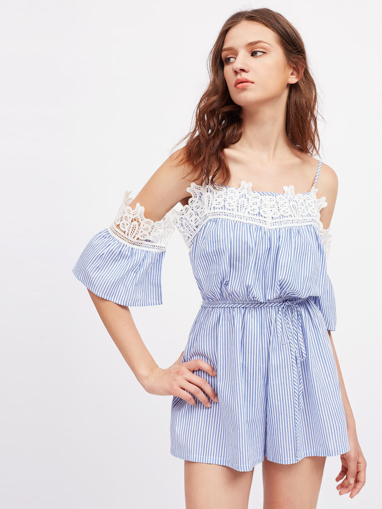 Contrast Lace Trim Tie Waist Striped Playsuit