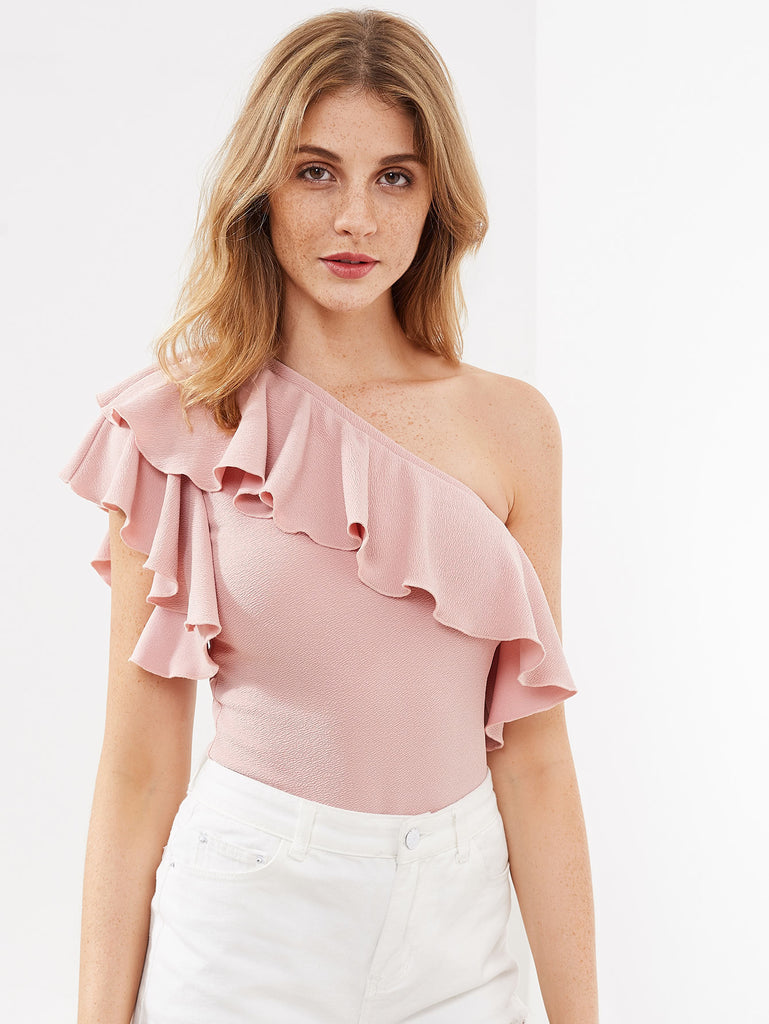 RZX Flounce One Shoulder Textured Bodysuit