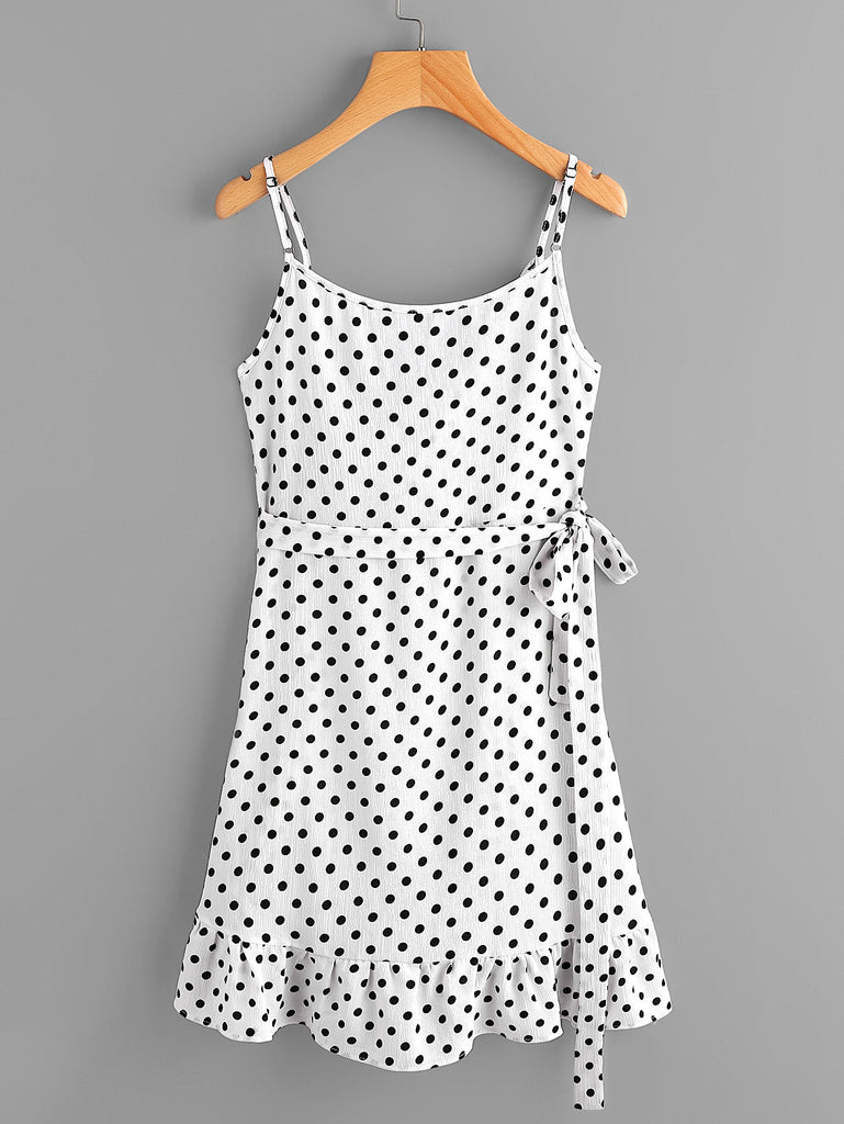 Polka Dot Wrap Self Tie Waist Frill Cami Dress