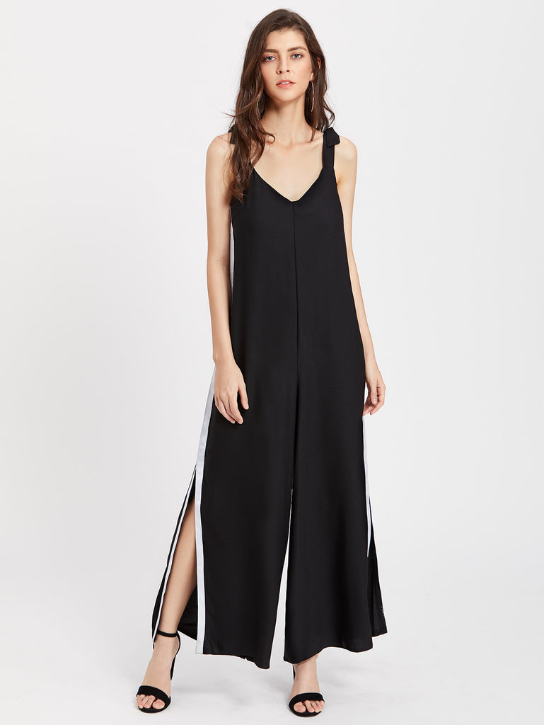 RZX Contrast Binding Split Side Jumpsuit