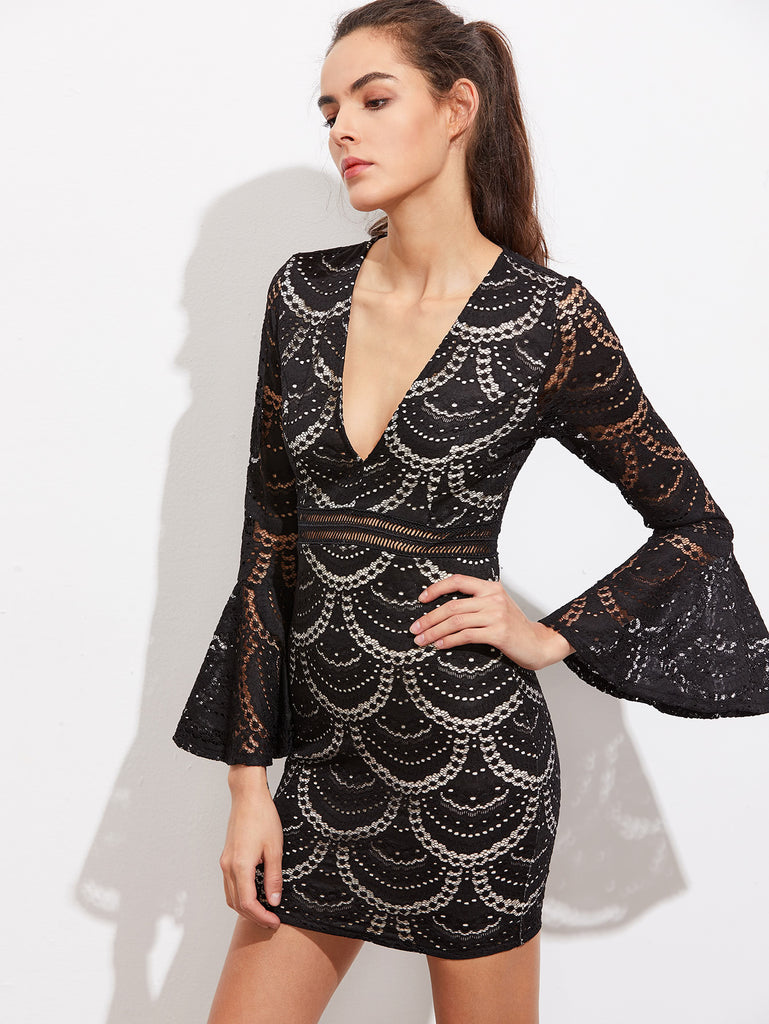 RZX V-Neckline Bell Sleeve Lace Bodycon Dress