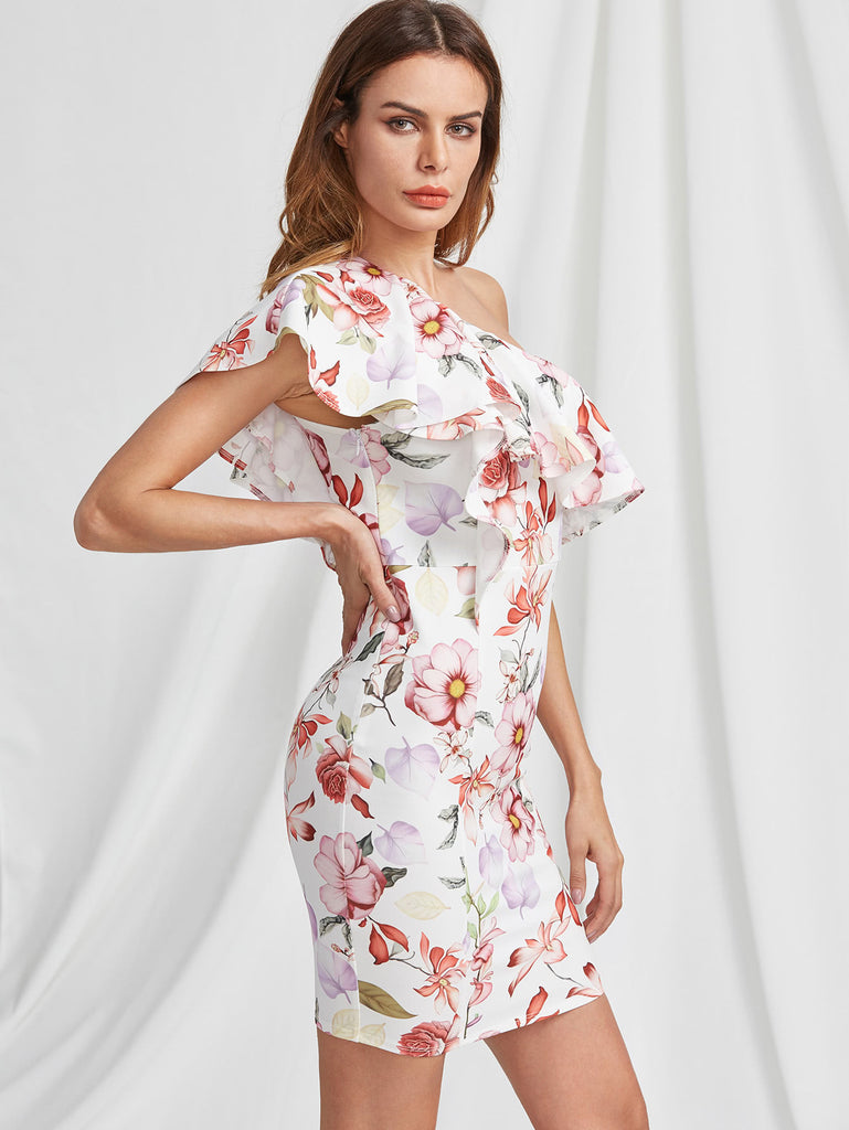Flounce One Shoulder Botanical Dress